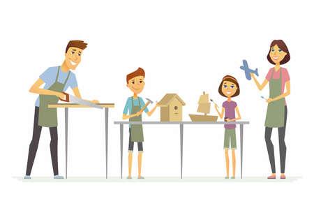 Familie die ambachten maken - de geïsoleerde illustratie van beeldverhaalmensen karakters. Stock Illustratie