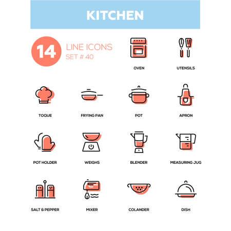 Kitchen utensils - line design icons set.