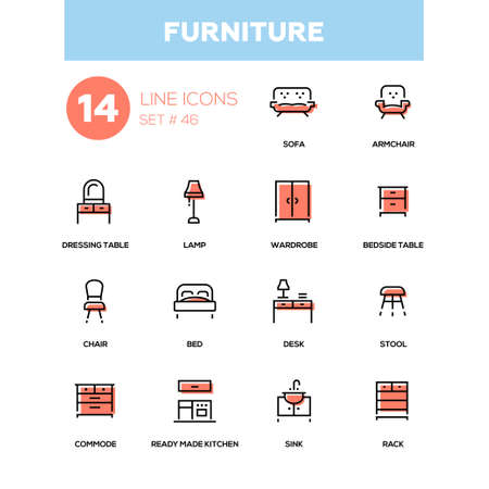 Furniture - line design icons set.