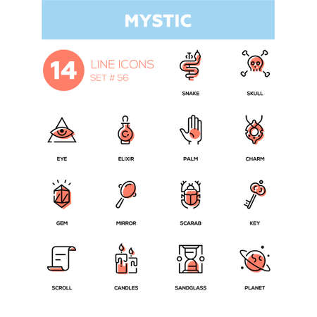 Culture theme, mystic - line design icons set.