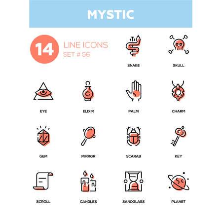 Culture theme, mystic - line design icons set.