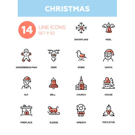 Holiday season, Christmas - line design icons set.