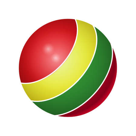 Rubber multicolored ball - modern realistic isolated object on white illustration. Illustration