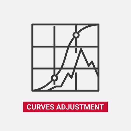 Curvenaanpassing - lijnontwerp enig geïsoleerd pictogram. Stock Illustratie