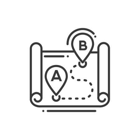 Route - line design single isolated icon. Ilustração