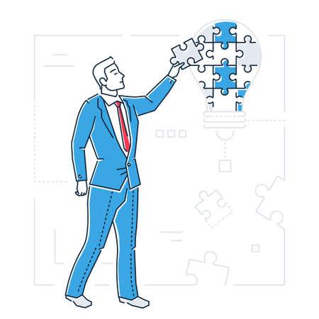 Uomo d'affari che fa puzzle - linea illustrazione isolata stile di progettazione. Vettoriali
