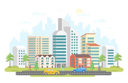 Illustrazione della città moderna. Archivio Fotografico - 92047025