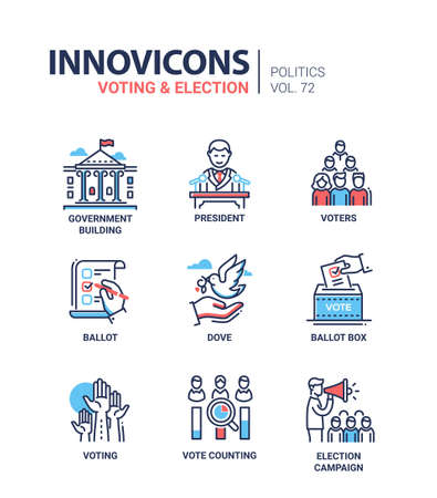 Icon set for voting and election.