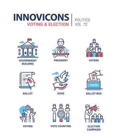 Zestaw ikon do głosowania i wyborów. Ilustracje wektorowe
