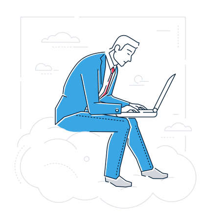 Male entrepreneur with a notebook icon.