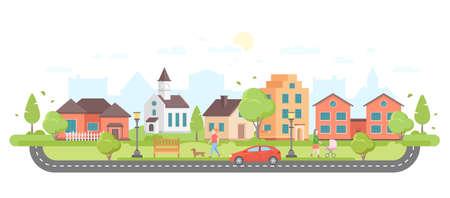 Moderne stadsillustratie. Stock Illustratie