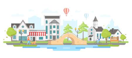 Stad met een brugpictogram. Stock Illustratie