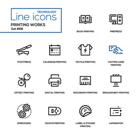 Printing works icon set.
