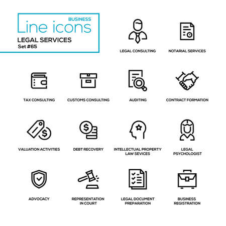 Legal services icon set. Ilustrace