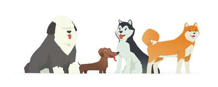 かわいい犬 - 現代ベクトル漫画のキャラクターイラスト