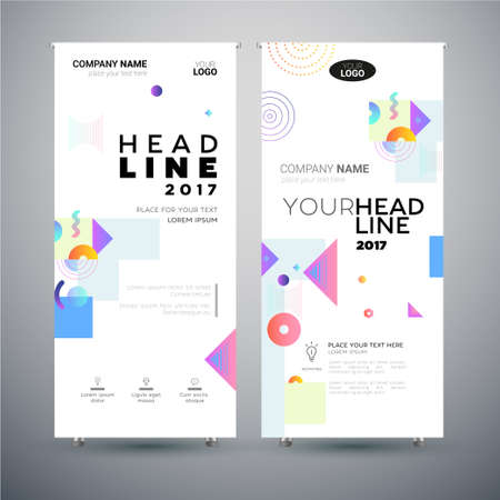 Corporate Banner set of modern template abstract illustrations. Illustration