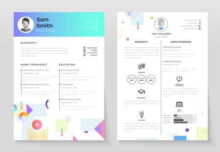 Personal CV set of modern template illustrations.