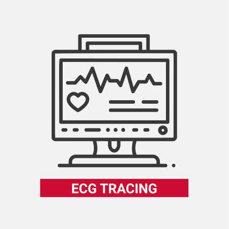 ECG 추적 라인 디자인 단일 격리 된 아이콘.