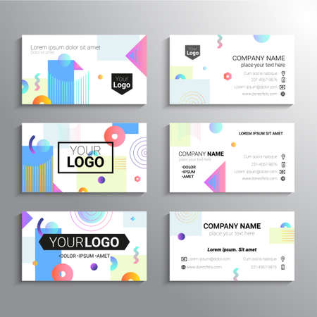 Set of business cards  template abstract illustration.