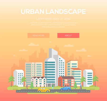 Illustrazione moderna del paesaggio urbano. Archivio Fotografico - 92070353