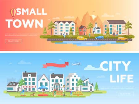 Città insieme di moderne illustrazioni piatte. Archivio Fotografico - 92070354