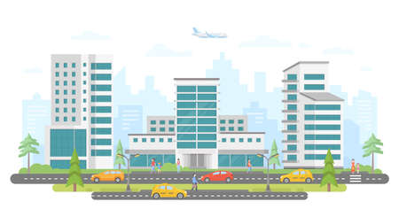 Busy street modern colorful flat illustration. Иллюстрация