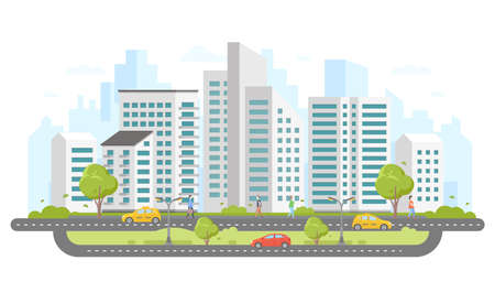 Modern city - colorful flat design style illustration.