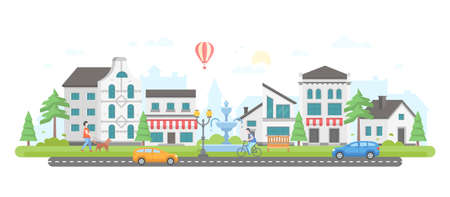 City life - modern flat design style  illustration.