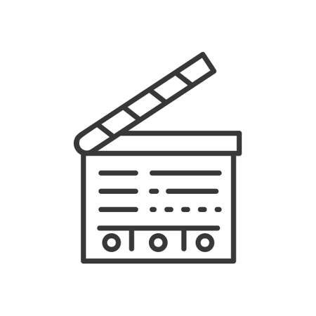 Clapperboard - line design single isolated icon.