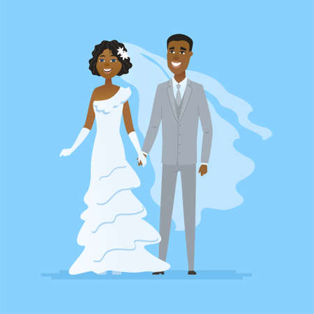 Wedding - cartoon people characters isolated illustration on white background. Happy newly married African American couple holding hands. A pretty bride in a white dress, handsome groom wearing a suit