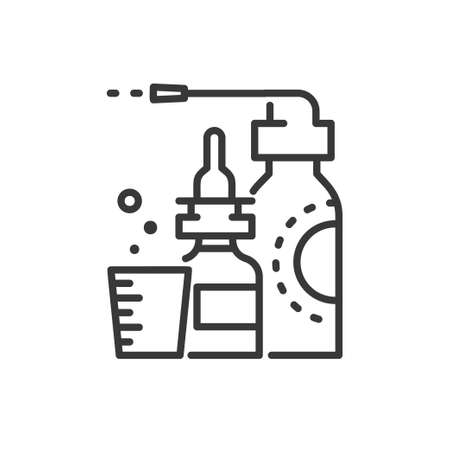 Medicines - line design single isolated icon on white background. High quality black pictogram, images of drops, measuring glass. Pharmacy, healthcare concept Иллюстрация