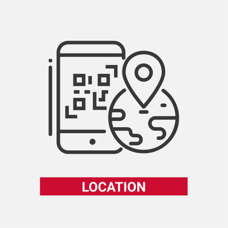 Location QR code - line design single isolated icon on white background. An image of a smartphone, globe with a mark on it. High quality black pictogram Illustration