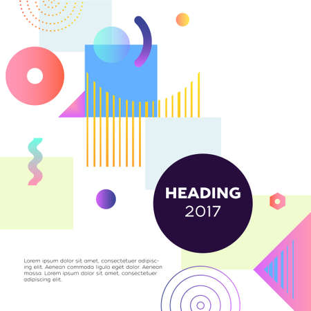 Abstract Background - modern vector template illustration on white background with place for your text, date, heading formed in a dark round frame. Stylish image with bright brush stroke, spots and dots Ilustração