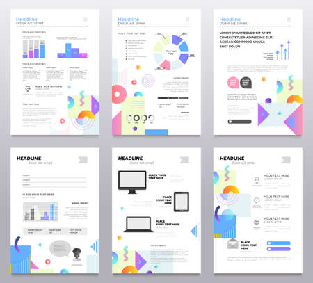 Presentation booklet - set of modern vector abstract templates. A4 pages on white background with place for your text, infographics, charts, information, diagrams. Stylish colorful brush strokes