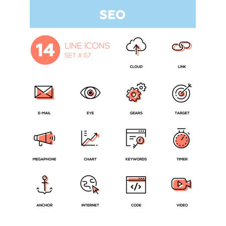Business concept, SEO - line design icons set. Options and items for search engine optimizer. Cloud, link, e-mail, eye, gears, target, megaphone, chart, keywords, timer, anchor, Internet, video