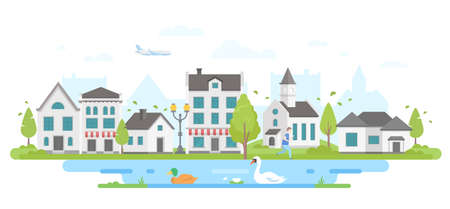 Cityscape with a pond - modern flat design style vector illustration