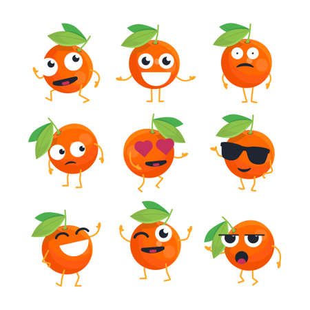 Oranges - vector isolated cartoon emoticons
