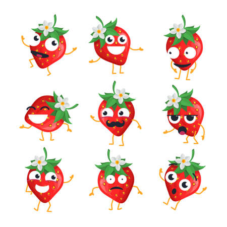 Strawberries isolated cartoon emoticons. Иллюстрация