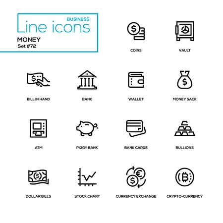 お金 - ラインデザインアイコンが設定されています。高品質の黒いピクトグラム。コイン、金庫、手札、財布、袋、ATM、貯金箱、地金、カード、ド  イラスト・ベクター素材