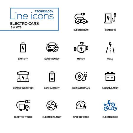Electro cars - line design icons set. High quality black pictograms. Charging, battery, eco-friendly, motor, road, station, low battery, coin with plug, accumulator, truck, planet, speedometer, bike Ilustrace