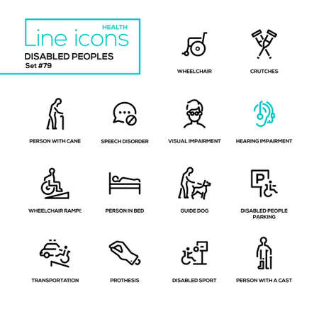 Disabled people - line design icons set. Wheelchair, crutches, person with cane, speech disorder, visual and hearing impairment, ramp, in bed, guide dog, parking, transportation, prothesis, cast Иллюстрация