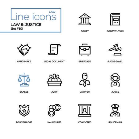 Legge e giustizia - set di icone del design di linea. Pittogramma di alta qualità. Corte, costituzione, stretta di mano, documento legale, valigetta, martelletto del giudice, bilancia, avvocato, distintivo della polizia, manette, condannato, poliziotto Vettoriali