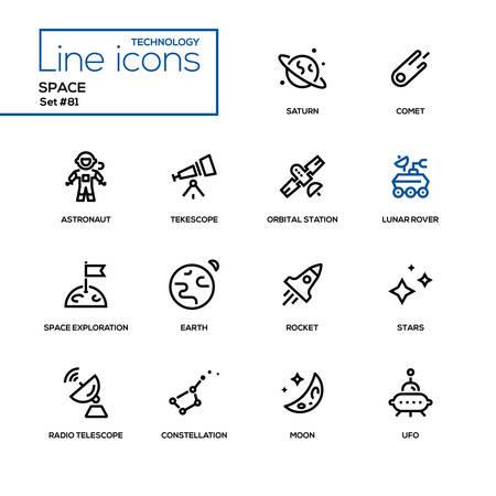 スペースコンセプト - ラインデザインアイコンセット。黒いピクトグラム。土星、彗星、宇宙飛行士、望遠鏡、軌道ステーション、宇宙探査、地球