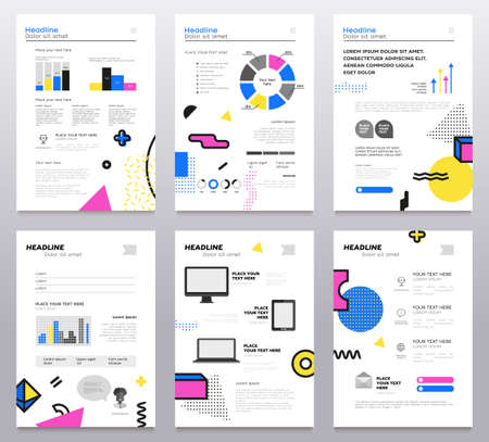 Presentation booklet set of modern abstract templates.  イラスト・ベクター素材