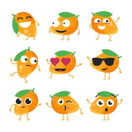 Funny mango - vector isolated cartoon emoticons.
