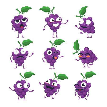 Funny bunch of grapes - vector isolated cartoon emoticons. Иллюстрация