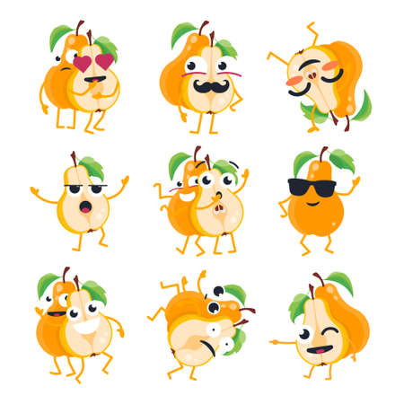 Funny pears - vector isolated cartoon emoticons.