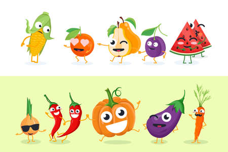 Funny fruit and vegetables - set of vector isolated characters illustrations.