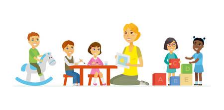 Maternelle - personnages de dessins animés illustration isolée sur fond blanc. Jeune institutrice souriante et enfants heureux jouant des jouets, des briques, écrivant et dessinant