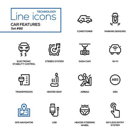 車の特徴 - ラインデザインアイコンセット。コンディショナー、パーキングセンサー、電子安定性制御、ステレオシステム、ダッシュカム、ワイヤ